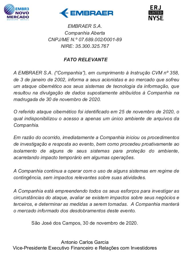 Comunicado sobre ataque cibercriminoso da Embraer 30/11/2020.