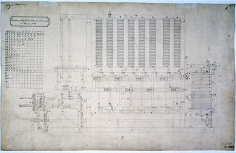 Ada Lovelace: Desenho do motor da máquina analítica de Babbage, 1848. Foto: Museu da Ciência, Londres.