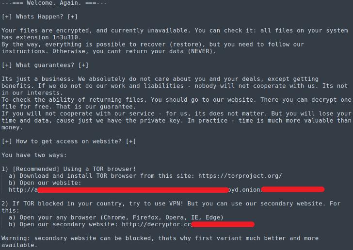 Mensagem deixada pelo ransomware Sodinokibi, que infectou a Light. Mais informações aqui!