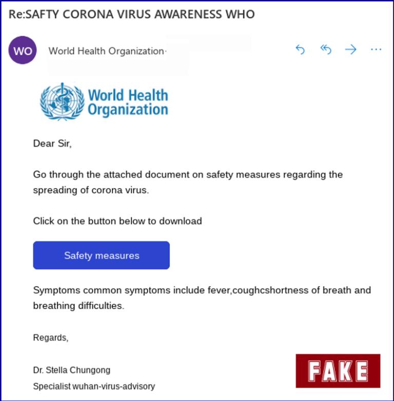 Exemplo de e-mail falso sobre o vírus. Mais informações aqui!