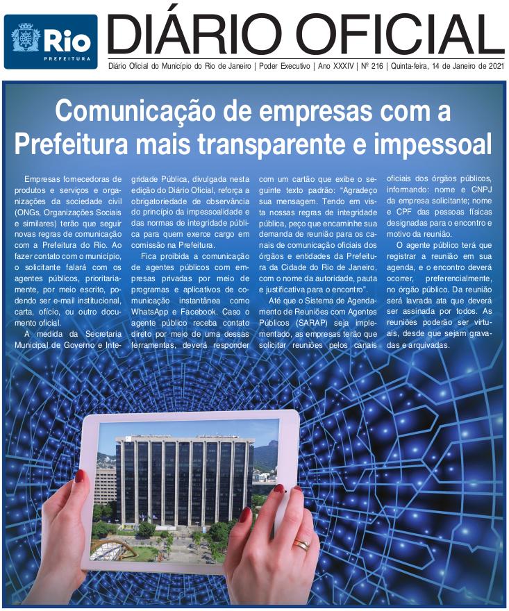 Capa do Diario Oficial no qual foi publicada a informação.