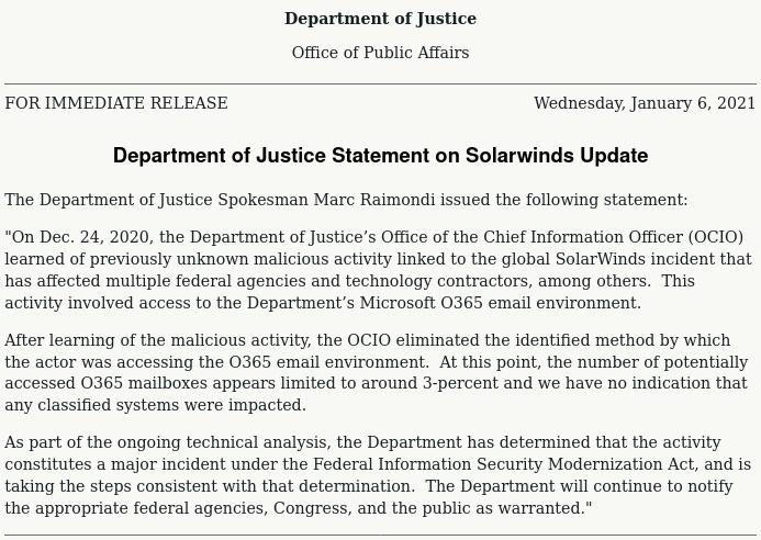 Comunicado do Departamento de Justiça dos EUA.