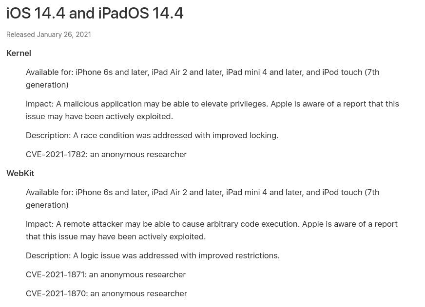 Comunicado da Apple sobre as vulnerabilidades corrigidas na versão 14.4.