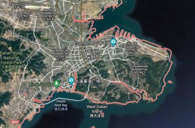 Captura de tela do Google Maps. Cidade fica próximo da fronteira com a Coréia do Norte.