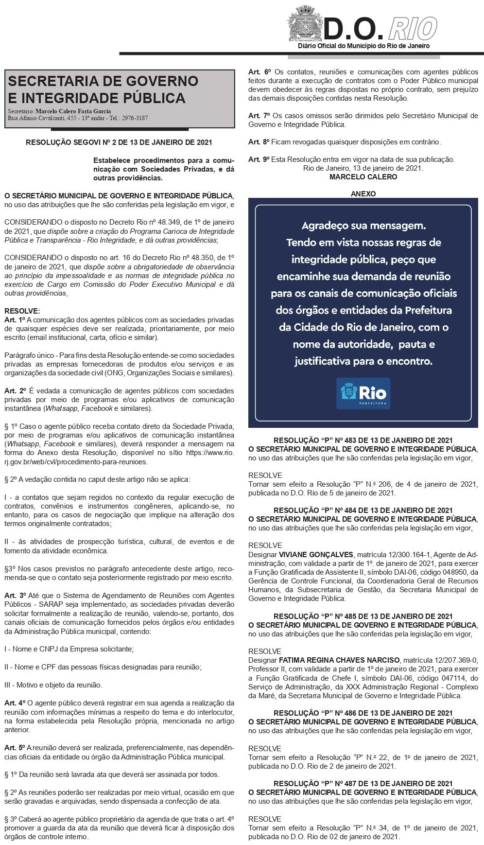 Resolução na íntegra, extrida do Diário Oficial do Rio de Janeiro.