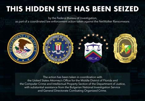 Mensagem deixada pelo FBI no lugar do site do NetWalker. Foto: Departamento de Justiça dos EUA.