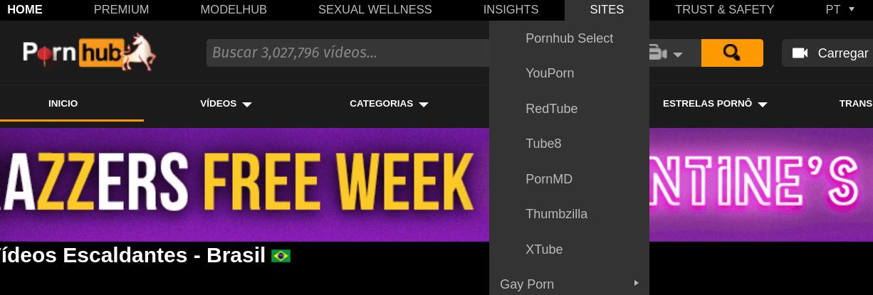 Captura de tela da home do Pornhub com a lista de sites do mesmo grupo