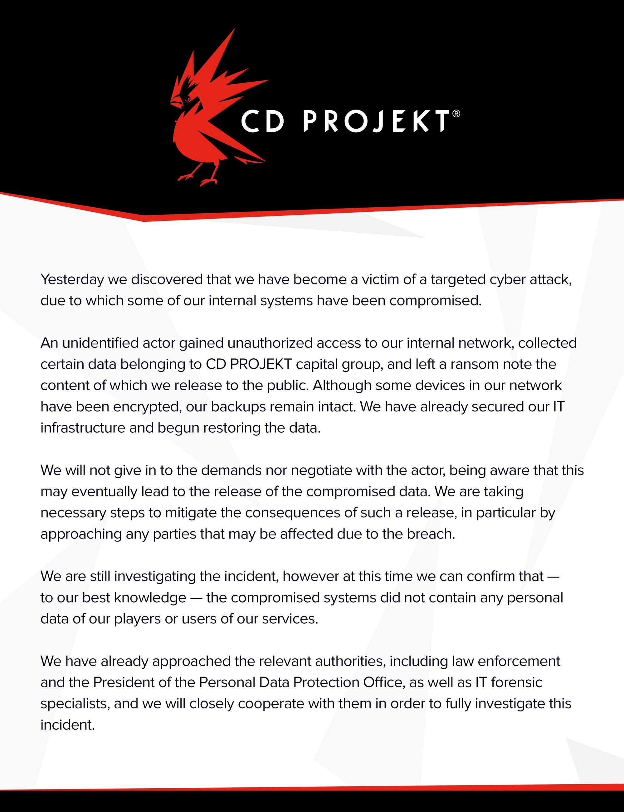 Comunicado é muito semelhante ao comuncado de junho de 2017. Foto: CD Projekt.