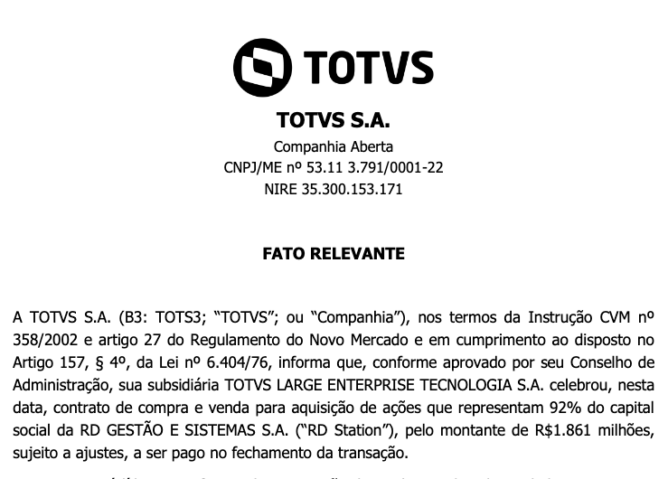 Reprodução do comunicado enviado aos investidores da empresa. Foto: TOTVS