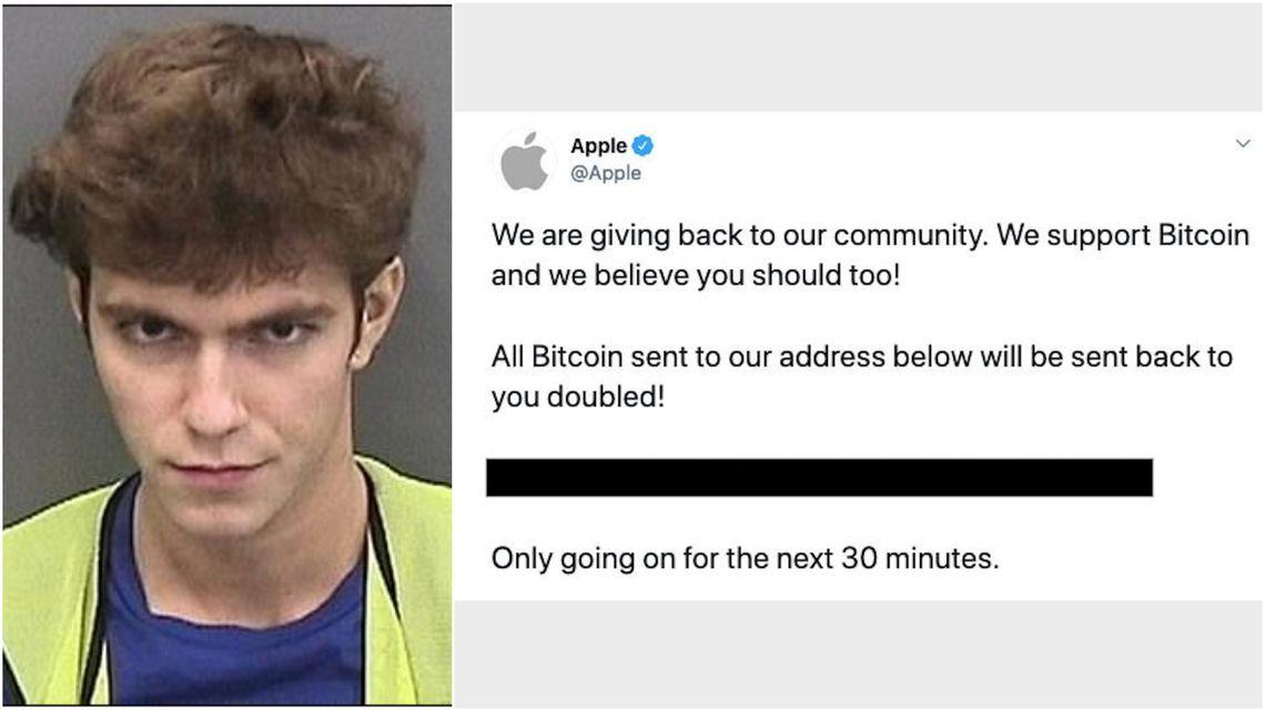 Graham a esquerda e a mensagem deixada no perfil verificado da Apple após ser invadido. Foto: Hillsborough County Sheriff's Office