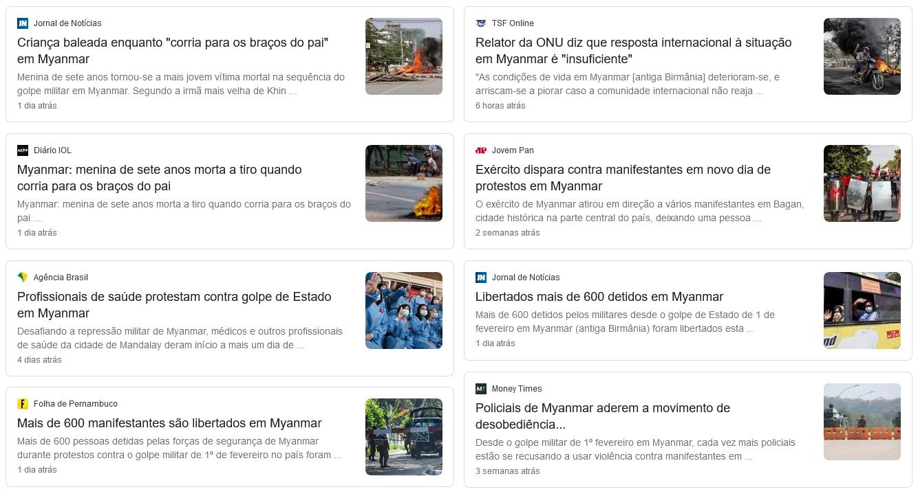"""Reunião de notícias recentes sobre a situação de Myanmar, extraídas da aba """"Notícias"""" do Google."""