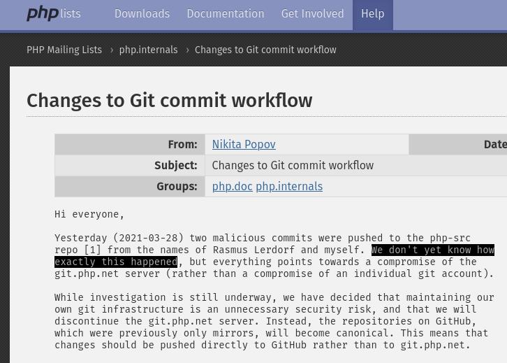 Comunicado de Popov, publicado no domingo (28/03) no site oficial do PHP.