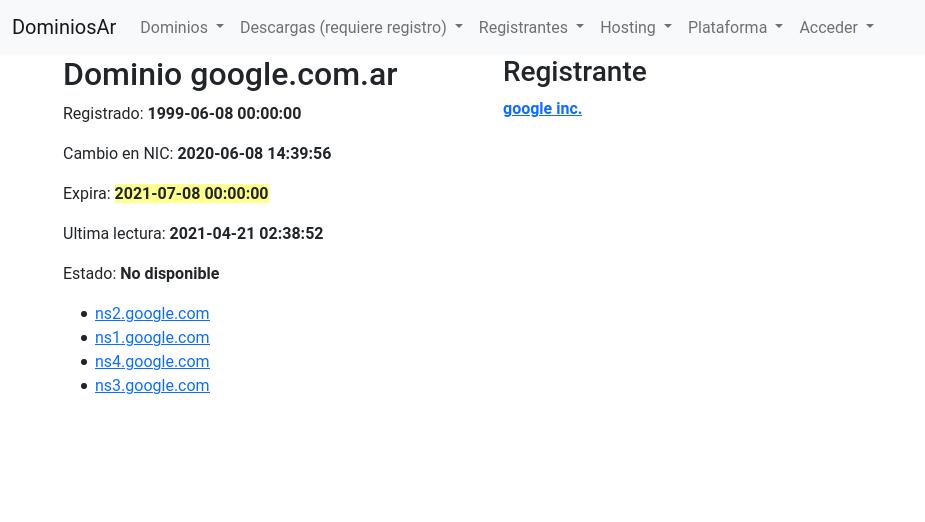 Captura de tela do Open Data Córdoba, indicando que o domínio vence em 08/07/2021. Foto: The Hack.