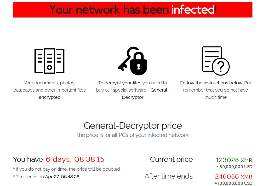Captura de tela com informações de valor e pagamento, deixada pelo ransomware REvil em máquinas da Quanta Computer. Foto: Bleeping Computer.