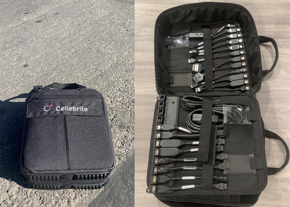 Kit Cellebrite com o software mais atualizado e cabos adaptadores, encontrado por Marlinspike. Foto: Signal.