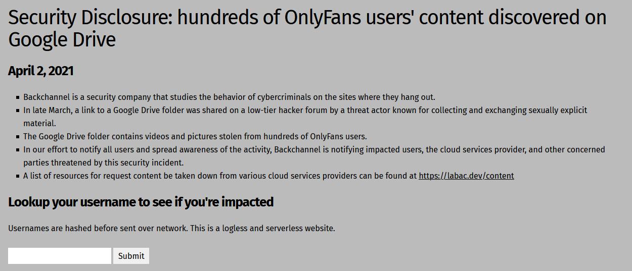 Captura de tela da ferramenta de checagem de criadores que tiveram seus conteúdos vazados, desenvolvida pela BackChannel.