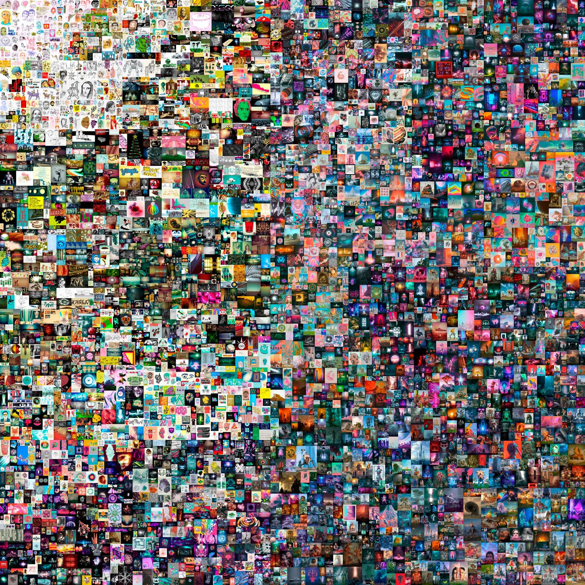 """A obra """"Everydays: The First 5000 Days"""", uma coleção de imagens de um artista conhecido como Beeple. Foto: Christie's"""