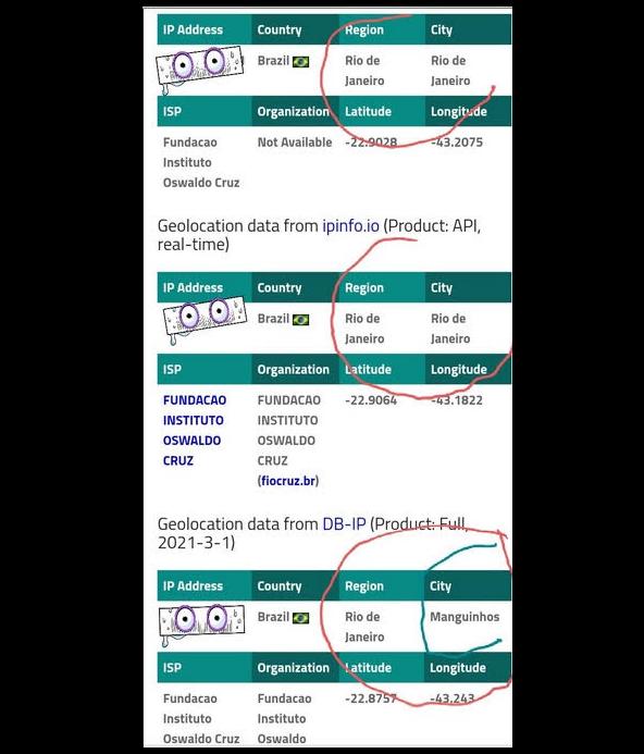 """Localização dos IPs dos servidores acessados, checados no serviço """"ipinfo[.]io"""", que fornece, principalmente, informações de localização de IPs. Dois IPs indicam que os servidores estão localizados no Rio de Janeiro e outro em Manguinhos. Foto: Hacker do Bem."""