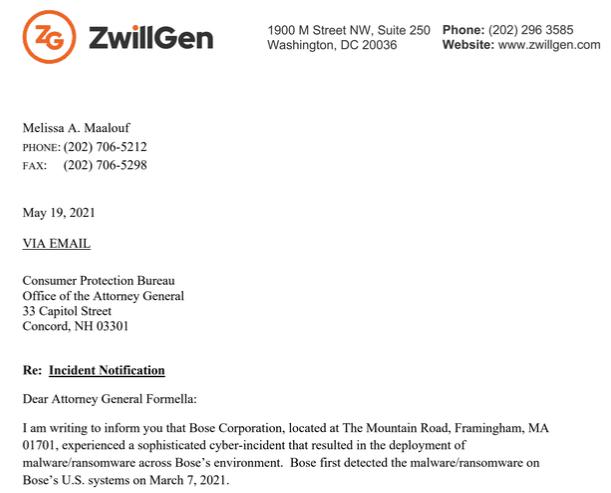 Captura de tela da carta enviada ao advogado geral da Procuradoria Geral de New Hampshire. Foto: BleepingComputer.