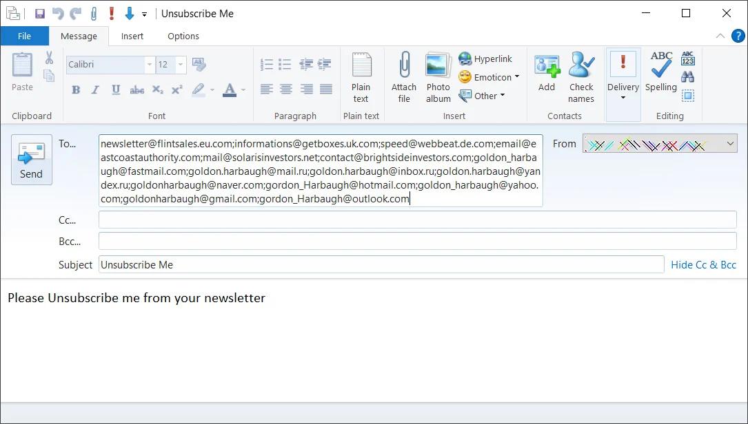 Ao clicar em 'unsubscribbe me' um novo e-mail é enviado a diversos endereços maliciosos. Foto: BleepingComputer.