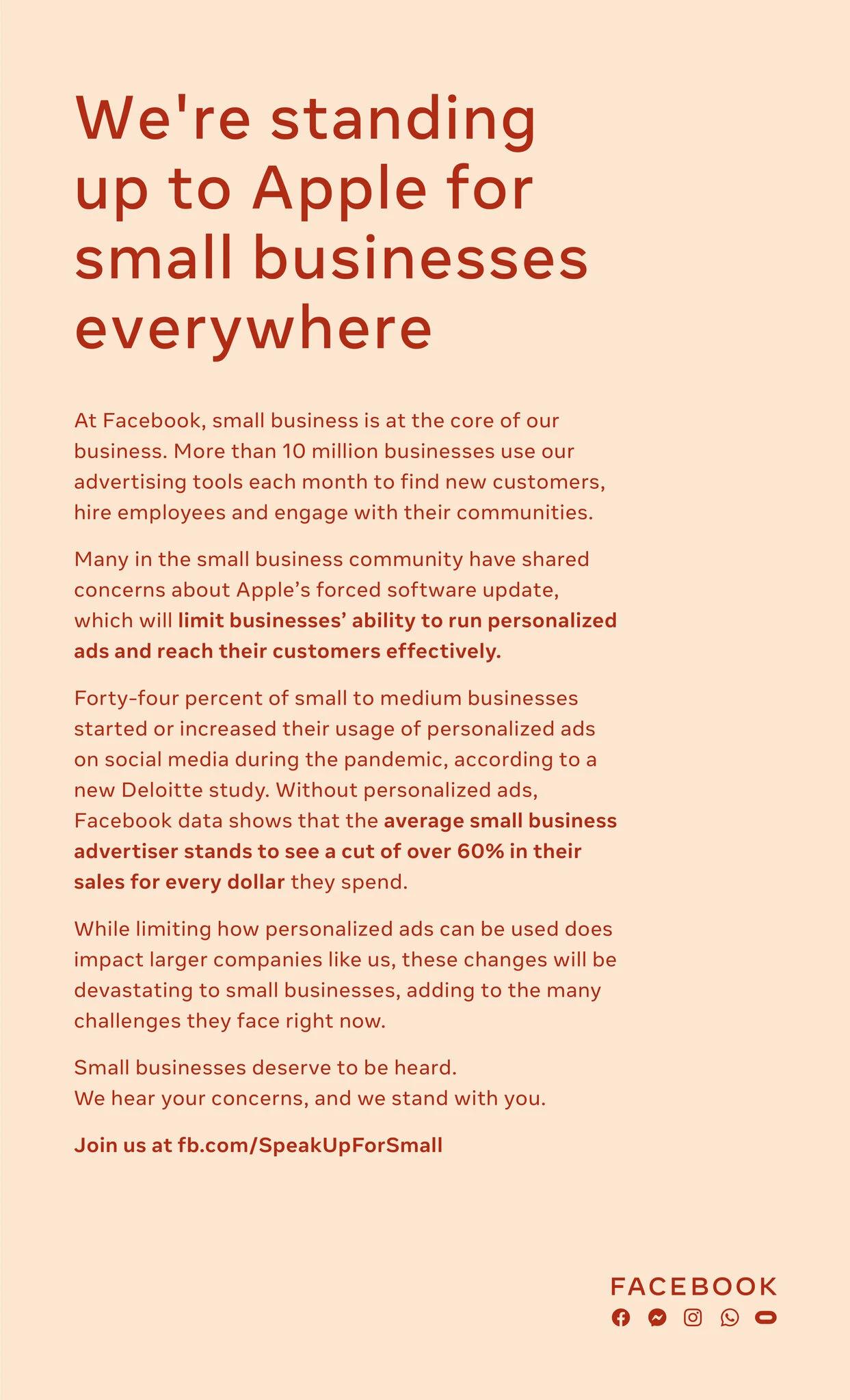 Anúncio do Facebook, de página inteira, veiculado no The New York Times, com uma mensagem contra as medidas de privacidade anunciadas pela Apple. Foto: The New York Times.