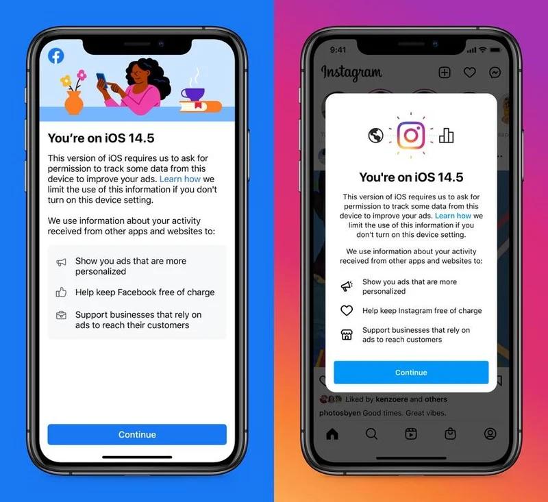 Mensagem enviada aos usuários de iPhone que atualizaram seus dispositivos para o iOS 14.5. Foto: Facebook.