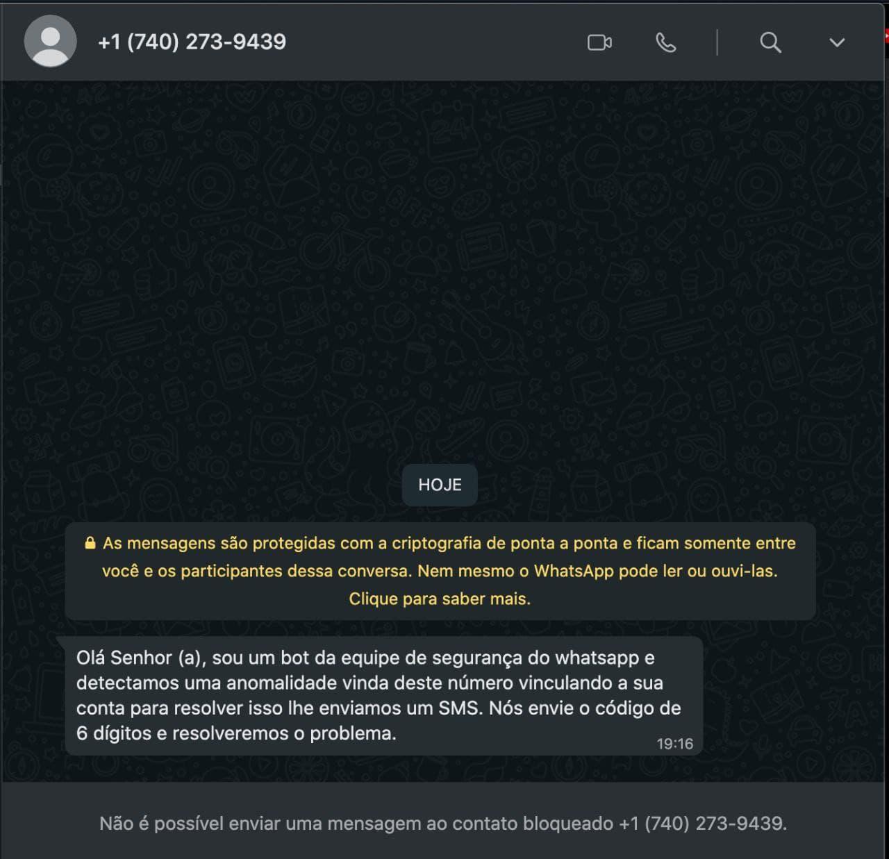 """Cibercriminoso pede para usuário enviar o código OTP para uma """"configuração de segurança"""" fraudulenda. Foto: Lucas Moreira em colaboração à The Hack."""