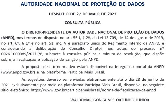 Minuta publicada no Diário Oficial da União (28/05/2021). Foto: The Hack.