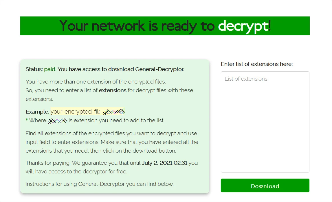 Captura de tela do descriptografador REvil, enviado à JBS após confirmação do pagamento. Foto: BleepingComputer.
