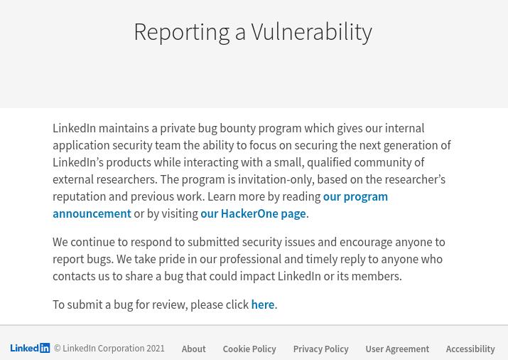 Procedimento indicado de como reportar uma vulnerabilidade ao LinkedIn. Foto: The Hack.