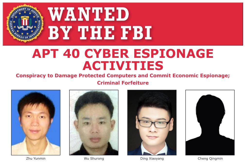 Quatro chineses suspeitos de serem membros do grupo cibercriminoso Hafnium, que operou os ataques de ciberespionagem contra empresas usuárias de servidores Microsoft. Foto: FBI.