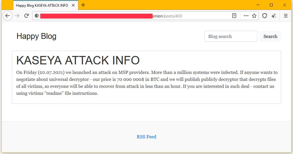 Cibercriminosos afirmam serem os responsáveis pelo ataque e pedem U$ 70 milhões por um descriptografador universal, em post no blog do grupo, hospedado na dark web. Foto: The Record.