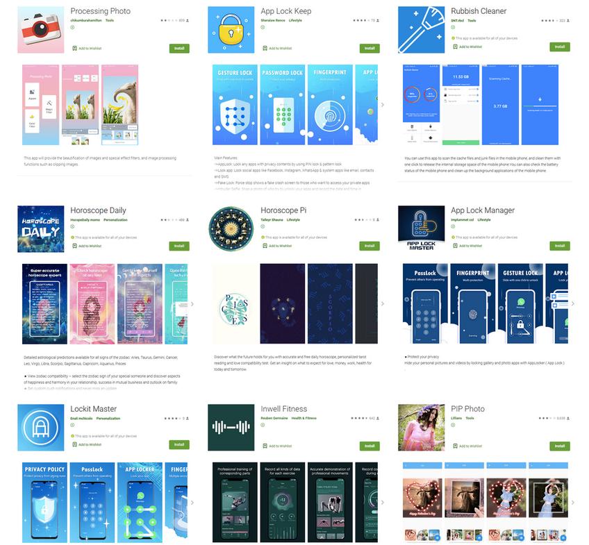 Montagem de alguns dos aplicativos maliciosos analisados pela empresa. Foto: Dr. Web.