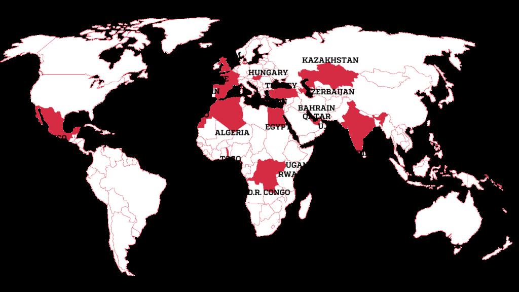 Mapa de alguns dos países com governos autoritários que mais utilizam o Pegasus contra sua própria população, segundo o vazamento. Foto: Forbidden Stories.