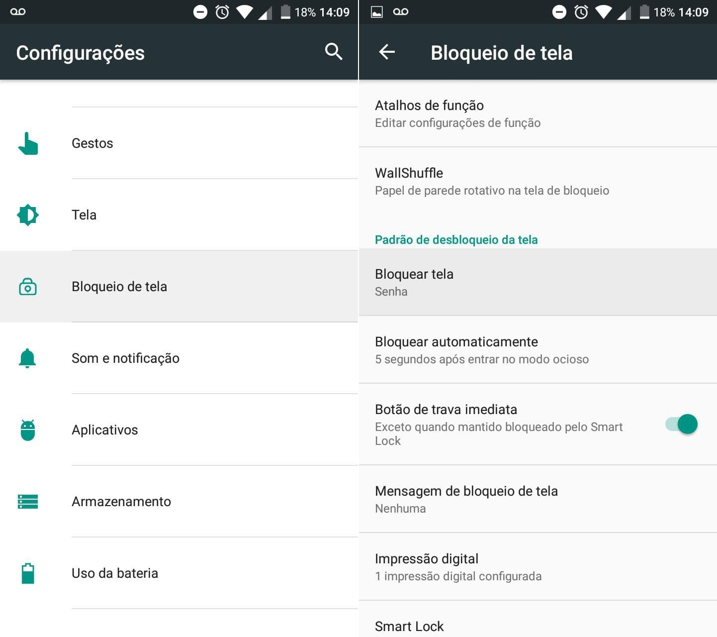 Passo-a-passo de como configurar uma senha no Android. Foto: The Hack.