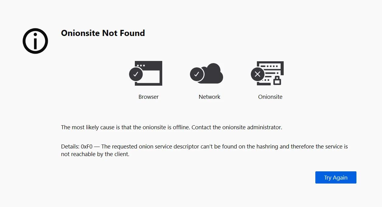 Captura de tela do erro encontrado pela redação do BleepingComputer ao tentar acessar os sites do grupo REvil. Foto: BleepingComputer.