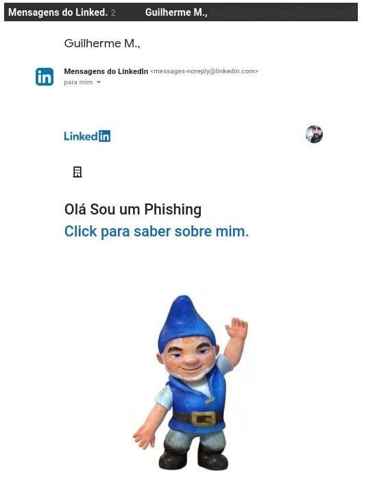 Montagem de capturas de telas da mensagem adulterada, enviada pelo próprio LinkedIn, durante os testes com a The Hack. Foto: The Hack.