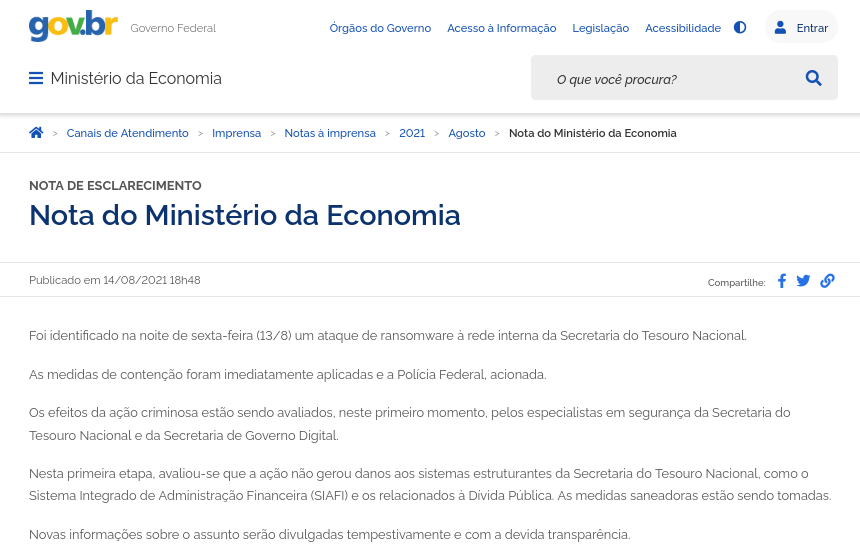 Nota do Ministério da Economia sobre a infecção por ransomware identificada na sexta-feira (13). Grupo cibercriminoso responsável pelo ataque não foi identificado. Foto: The Hack.