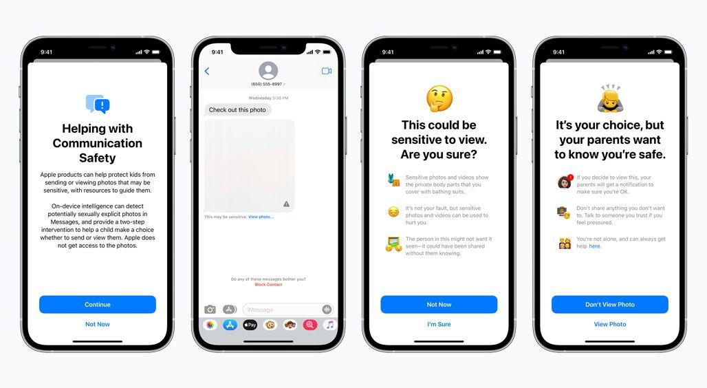 """""""As mensagens alertarão as crianças e seus pais ao receber ou enviar fotos sexualmente explícitas"""", escreve a empresa. Foto: Apple."""