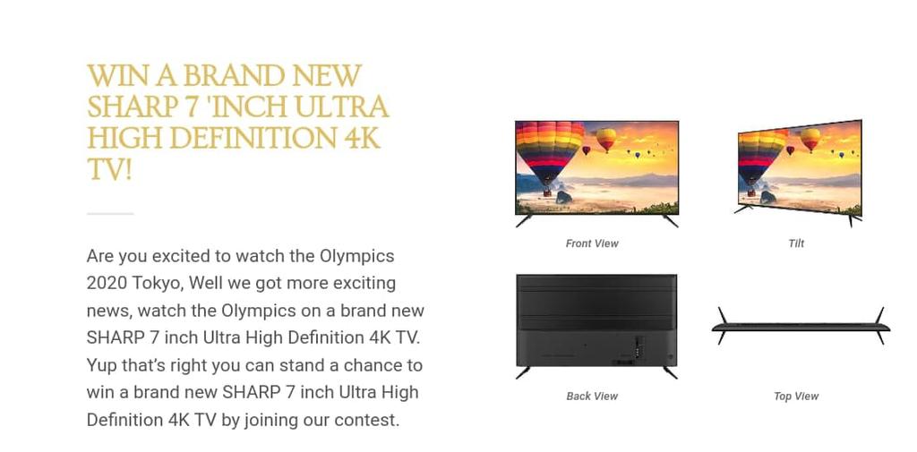 Captura de tela da página falsa que oferecia uma televisão 4K para assistir às Olimpíadas. Foto: Kaspersky.