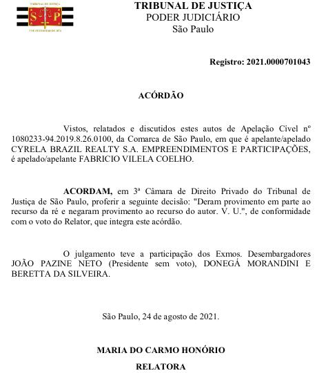 Captura de tela da capa do documento que retira a Cyrela da obrigação de pagar pela multa de R$ 10 mil, aplicada em setembro de 2020. Foto: The Hack.