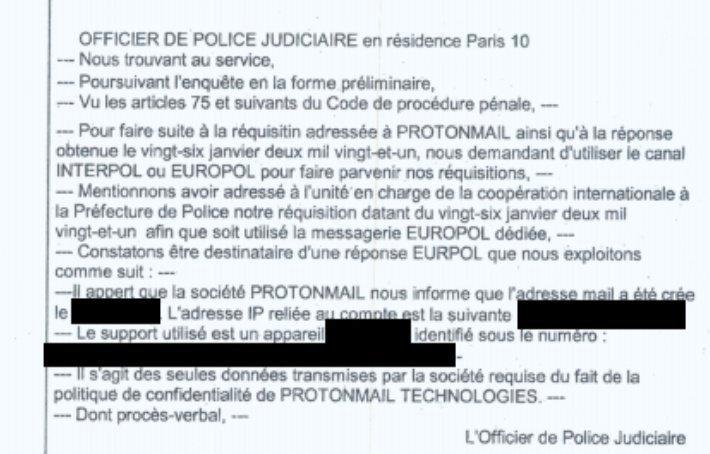 Captura de tela do processo que prendeu os manifestantes revela que empresa teria trabalhado em parceria com a Polícia da Suíça, para fornecer endereços de IP e outros dados à Polícia da França. Foto: onestla.tech via Twitter.
