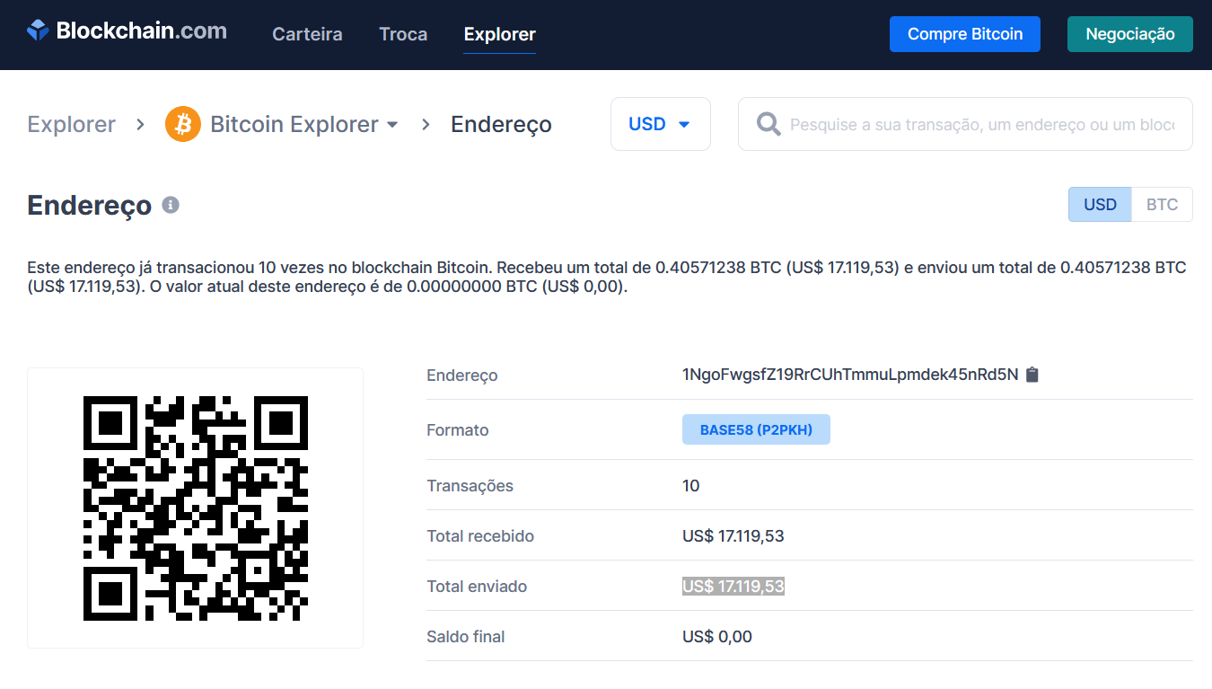 Embora anônima, toda movimentação de Bitcoin pode ser rastreada pelo site Blockchain.com. Foto: The Hack.