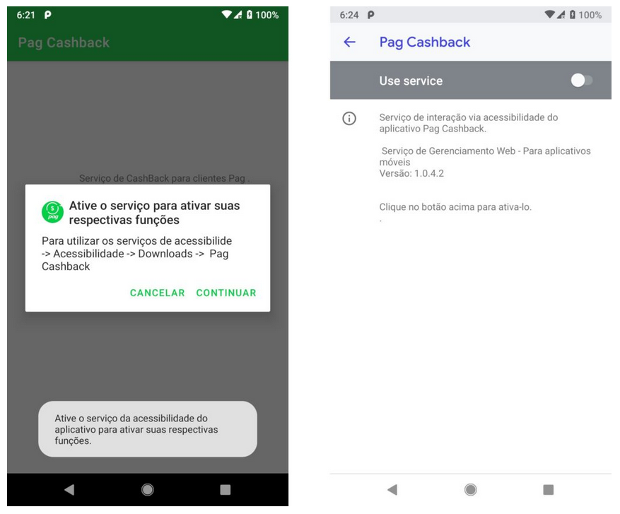 Exemplos dos dois aplicativos maliciosos, encontrados na Google Play Store, que precisam dos recursos de acessibilidade para funcionar. Foto: Check Point Research.