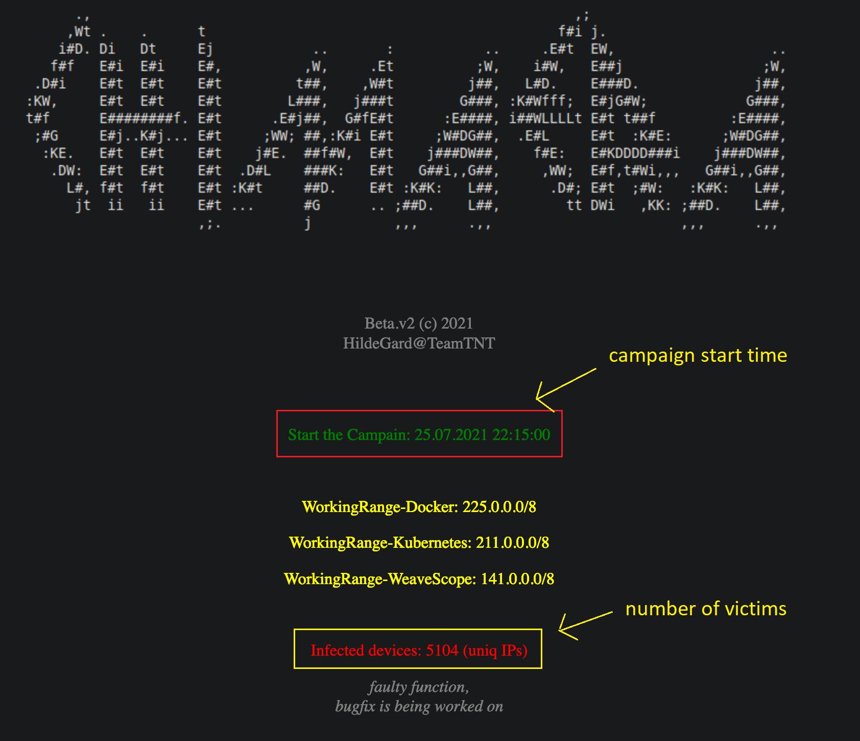 Operação cibercriminosa deixa público, em sua página na dark web, informações como data do início da campanha, número total de IPs infectados, entre outros dados. Foto: AT&T Alien Labs