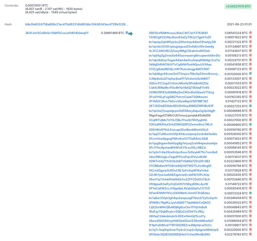 As 45 transações de criptomoedas realizadas pelo cibercriminoso para dissolver o montante e dificultar o rastreio. Foto: The Hack.