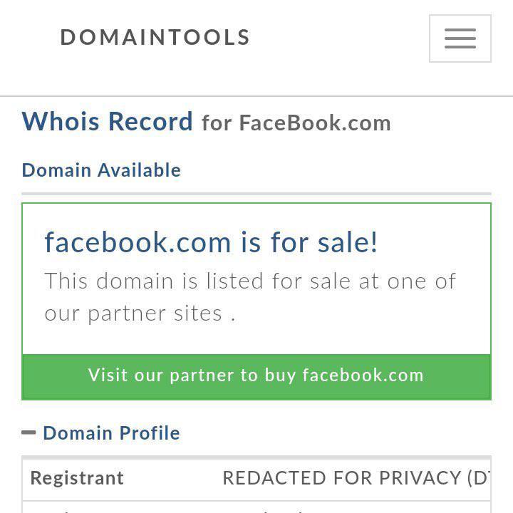 Serviço de registro de domínios indica Facebook[.]com como disponível para compra.